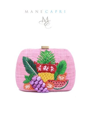 Clutch in paglia con frutta Serpui | 31 | GRAPE BAGROSA