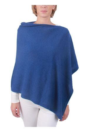 Poncho mantella in lana e cachemire artigianale Art Tricot | 52 | 700PAZZURRO