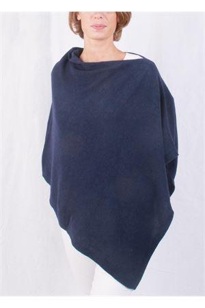 Poncho mantella in lana e cachemire artigianale Art Tricot | 52 | 700PBLU