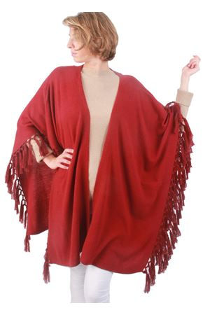 Cachemire and wool fringes bordeau jacket Art Tricot | 3 | D7171 FRINGEBORDEAUX