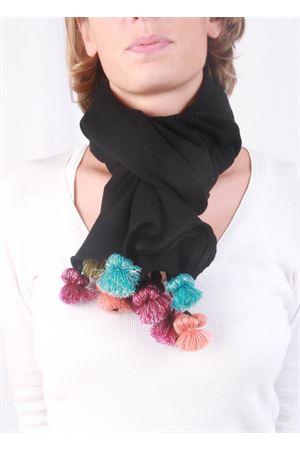 Handmade wool scarf Art Tricot | 77 | POMPOM SCARFNERO