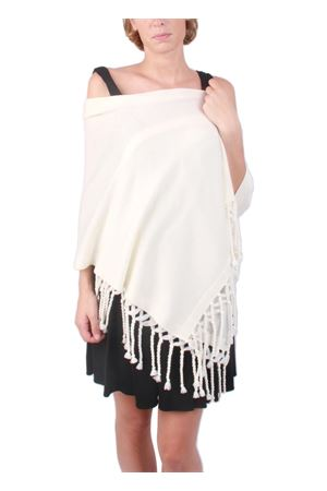 Stola in pura lana con frange bianca Art Tricot | 61 | STOLA FRANGIA LUNGABIANCO