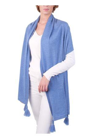 Stola in pura lana con frange azzurra Art Tricot | 61 | STOLA POM POMAZZURRO