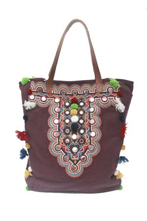 Boho chic shopper bag with pom pom and mirrors Christophe Sauvat | 31 | MIRROR TOTEVIOLA