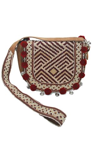 Bordeaux pom pom and beads suede leather bag Christophe Sauvat | 31 | SADLE PU BAGBORDEAU