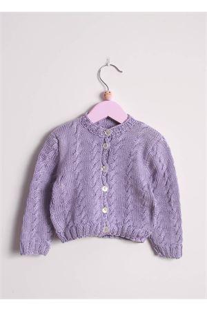 Cardigan da neonata in cotone lilla con trecce Il Filo di Arianna | 39 | CAR COT 05 LILLALILLA