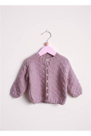 Cradigan in lana per neonata Il Filo di Arianna | 39 | CAR LAN 08MELANZANA