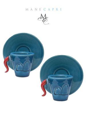 Set di due tazzine da caffè artigianali con corno e Faraglioni Manè Capri | 20000026 | SET CONOBLU