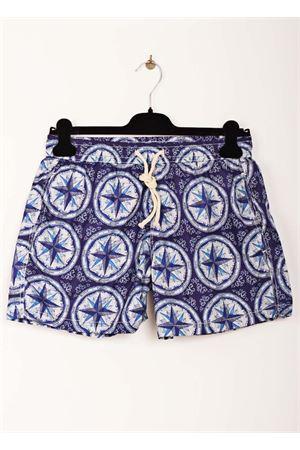 Wind rose pattern man swimsuit Aram V Capri | 85 | MAIOLICA 4BLU