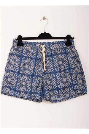 Man swimsuit with blue majolica pattern Aram V Capri | 85 | MAIOLICA 649655590BIANCO