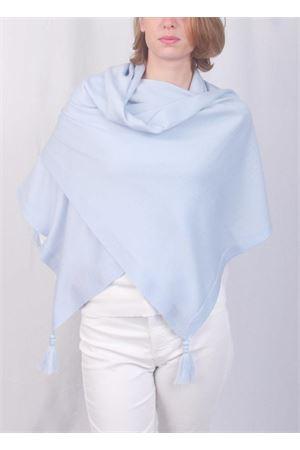 Stola in pura lana con pon pon azzurra Art Tricot | 61 | STOLA CAPRESECELESTE CIELO