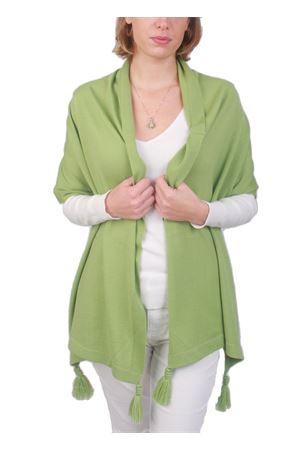 Stola in pura lana con pon pon verde Art Tricot | 61 | STOLA CAPRESEVERDE MELA