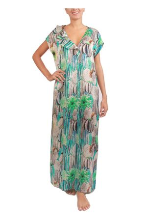 Kaftano elegante in seta con stampa cactus verde Capri Chic | 5032262 | KAFTANO CACTUSVERDE
