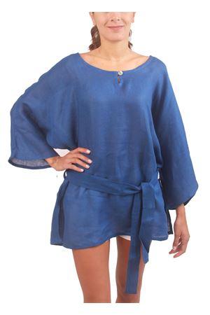 One size blue linen tunic Colori Di Capri | 5032233 | CASACCA BICOLOREBLU
