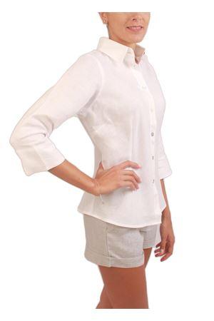 White linen shirt with asymmetrical cut Colori Di Capri | 6 | SBIECOBIANCO
