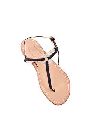 Navy blue suede jewel sandals Cuccurullo | 5032256 | CRYSTALRINGBLU NAVY
