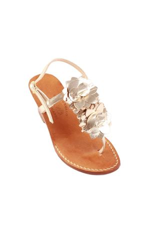 Wedge sandals with gold flowers Cuccurullo | 5032256 | FULLFLOWER4PLATINO