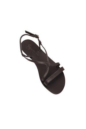 Black Capri sandals with double cross on the feet Da Costanzo | 5032256 | 2606NERO