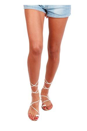 Sandali capresi con lacci lunghi stile schiava con treccine Da Costanzo | 5032256 | 2615LBIANCO