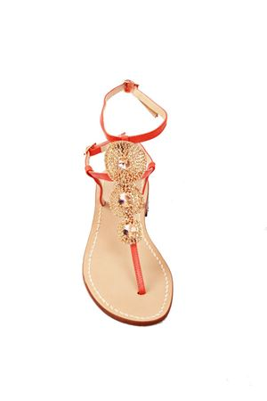 Gold and orange jewel capri sandals Da Costanzo | 5032256 | S3690BISARANCIO