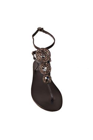 Sandali gioiello neri bassi con chiusura alla caviglia Da Costanzo | 5032256 | S3690BISNERO
