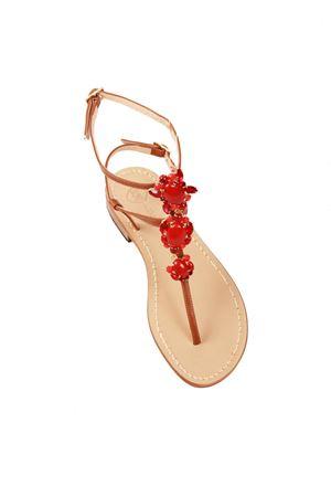 Double ankle closure red jewel Capri sandals Da Costanzo | 5032256 | S3690ROSSO
