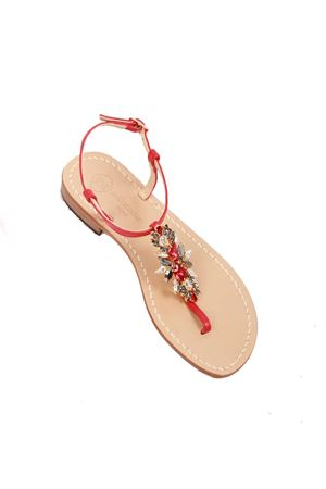 Flat red jewel Capri sandals Da Costanzo | 5032256 | S3973ROSSO
