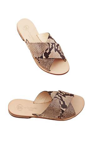 Sandali capresi pitonati con fasce doppie modello pantofolina Da Costanzo | 5032256 | TV2496BEIGE