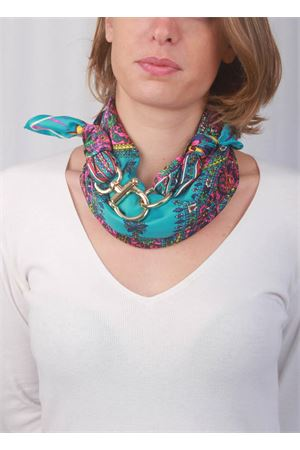 Turquoise Capri scarf with gold hook closure Grakko Fashion | -709280361 | GRCASHTURCHESE