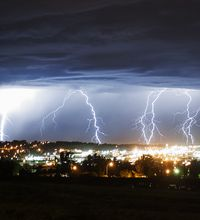 Lightning strikes in Oconto County (Photo by Green Bay Press Gazette)