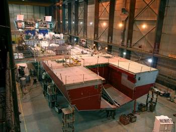 Inside the Marinette Marine shipbuilding facility (Photo by Boilermakers.org)