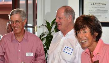 Former Arizona State Senator Tom O'Halleran (R-Sedona), center, chats with Democrats Angela LeFevre and Doug Ballard moments before endorsing them Wednesday, Sept. 12, in Cottonwood.