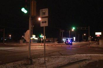 Wisconsin State Patrol blocked Hwy. 141 in Crivitz during a manhunt, Dec. 17, 2014. (Photo by WLUK)