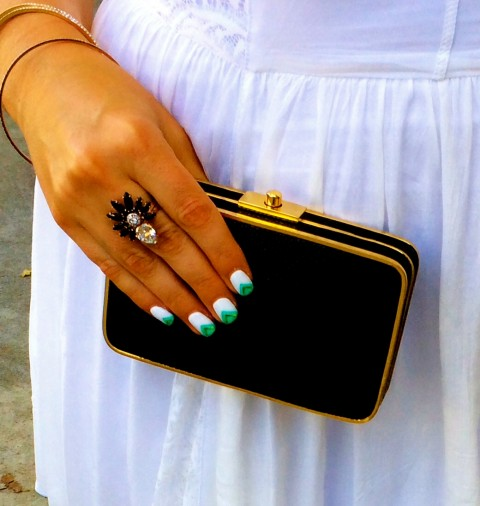 Henri Bendel clutch and ring by Katie Lindsay