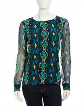 Equipment - Liam Snake-Print Blouse (worn by Ashley Marin on Pretty Little Liars)
