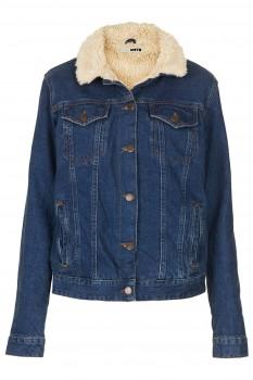 Topshop - MOTO Vintage Borg Denim Jacket