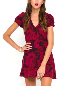 Motel Rocks - Tahnee Tea Dress in Tonal Floral Maroon (worn by Mona Vanderwaal on Pretty Little Liars)