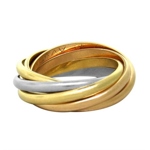 Cartier Cartier Trinity 18k Gold Tri Color 7 Rolling Band Ring Size 42