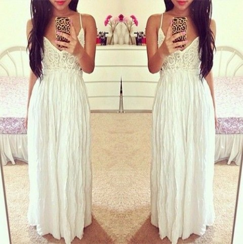 White Plunging V Neck Lace Top Spaghetti Strap Low Back Sexy Maxi Dress Chic