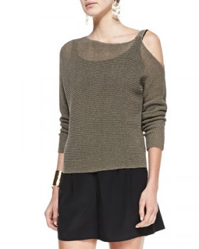Eileen Fisher - Ribbed Linen Cold-Shoulder Top (worn by Ashley Marin on Pretty Little Liars)