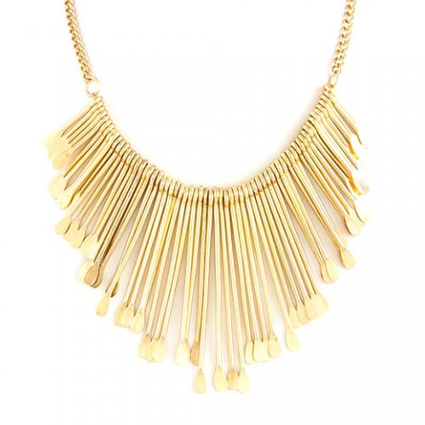 zokydoky Gold Sculpted Metal Fringe Necklace