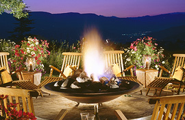 Firepit overlooking the Rocky Mountains