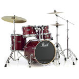 "pearl export lacquer 5 piece drum set with 22"" bass and hardware"