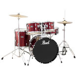 "pearl roadshow 5 piece drum set with 20"" bass drum hardware and cymbals"