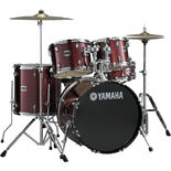 "yamaha gigmaker 5 piece drum set with hardware and 22"" bass drum - burgundy glitter (used demo)"