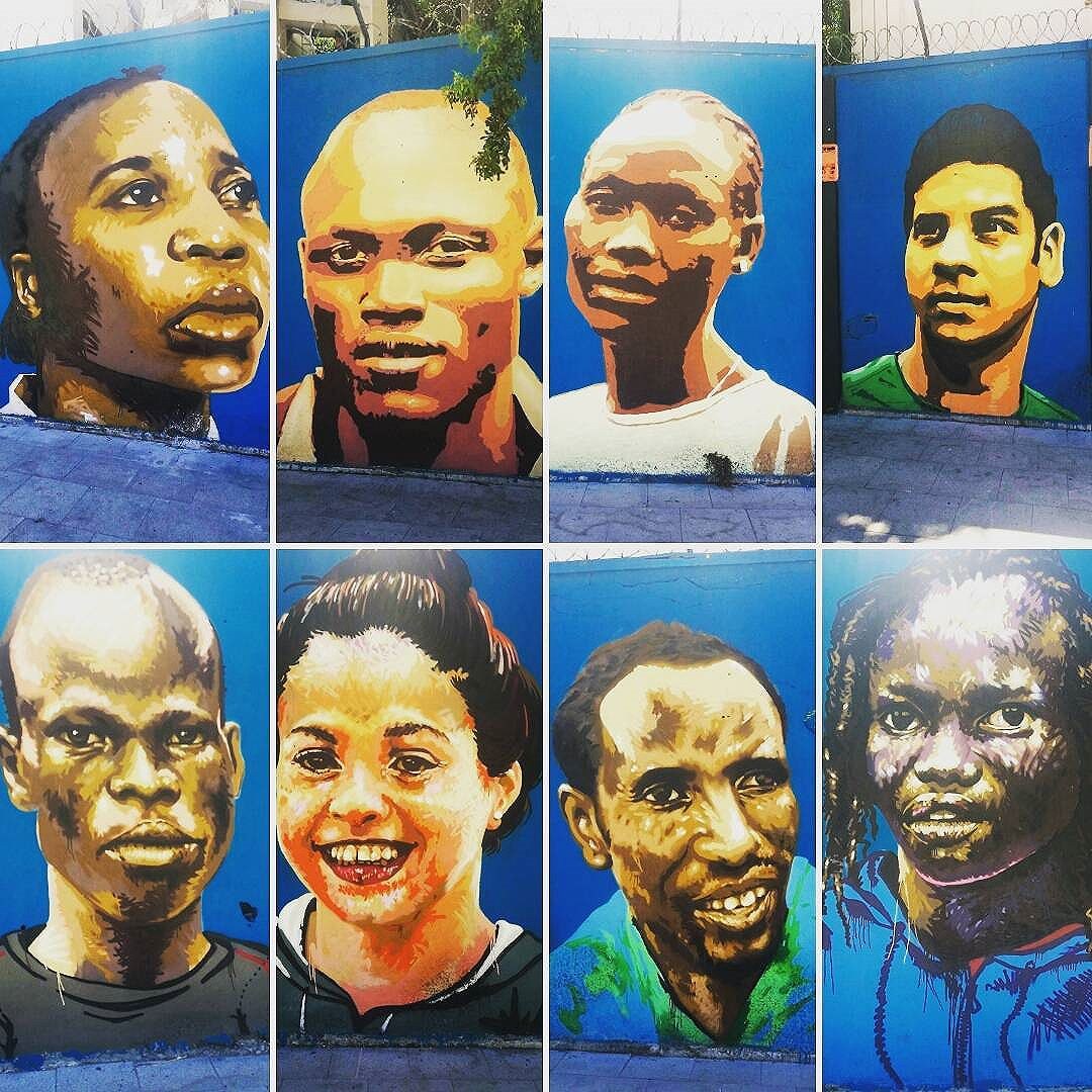 I love this one! The artistis #Sini and #Cety realized these portraits last year to honor The Team of Refugees who participate in Rio 2016. #rioartexperience  #graffitti  #arttour #riodejaneiro #osmurosfalam  #turismoalternativo  #arteurbana #graffittiart #graffiticarioca #streetartrio #artederuario #arteurbanacarioca #arte #art #cidademaravilhosa  #carioquissimo #vejario #rioofficialguide #destinoerrejota #instario #instatravel #riodejaneiroinstagram #visitrio #visitbrasil #brasil #instart #grafite #mtur
