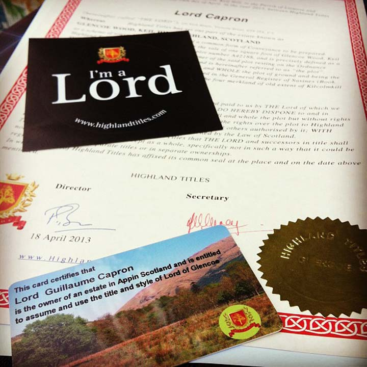 First Wedding Anniversary Gift Ideas - Paper certificate Lord of Glencoe