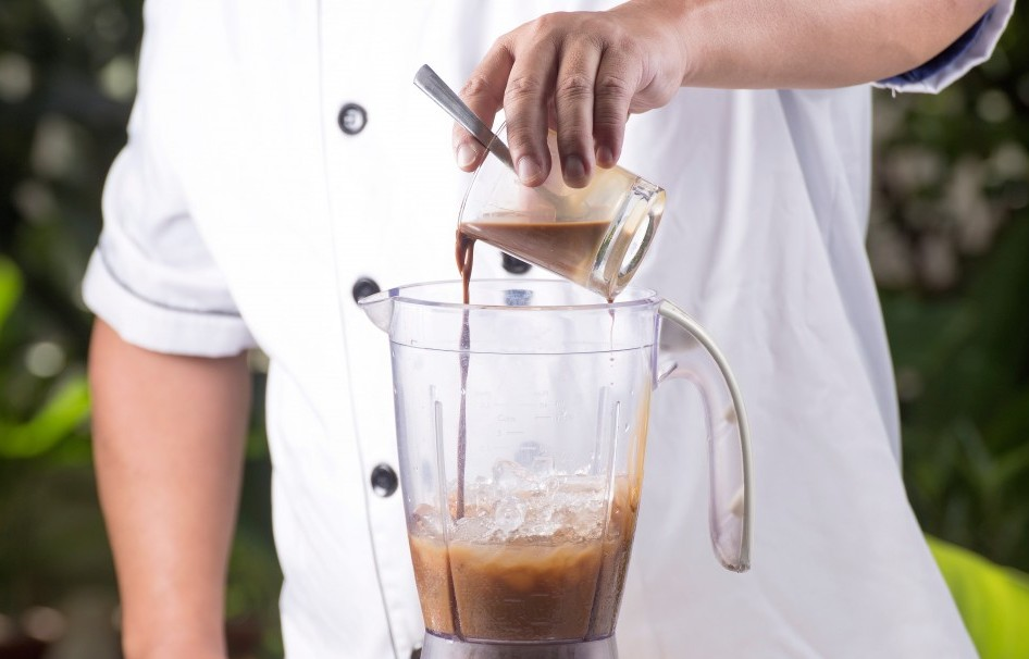 Blender With a Juicer. Making Iced Coffee in Vitamix
