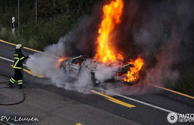 Lamborghini in flames