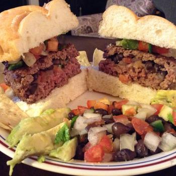 Image for Southwestern Stuffed Burger w/ Black Beans and Pico de Gallo
